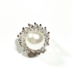 Silver-tone Pearl CZ Cocktail Ring